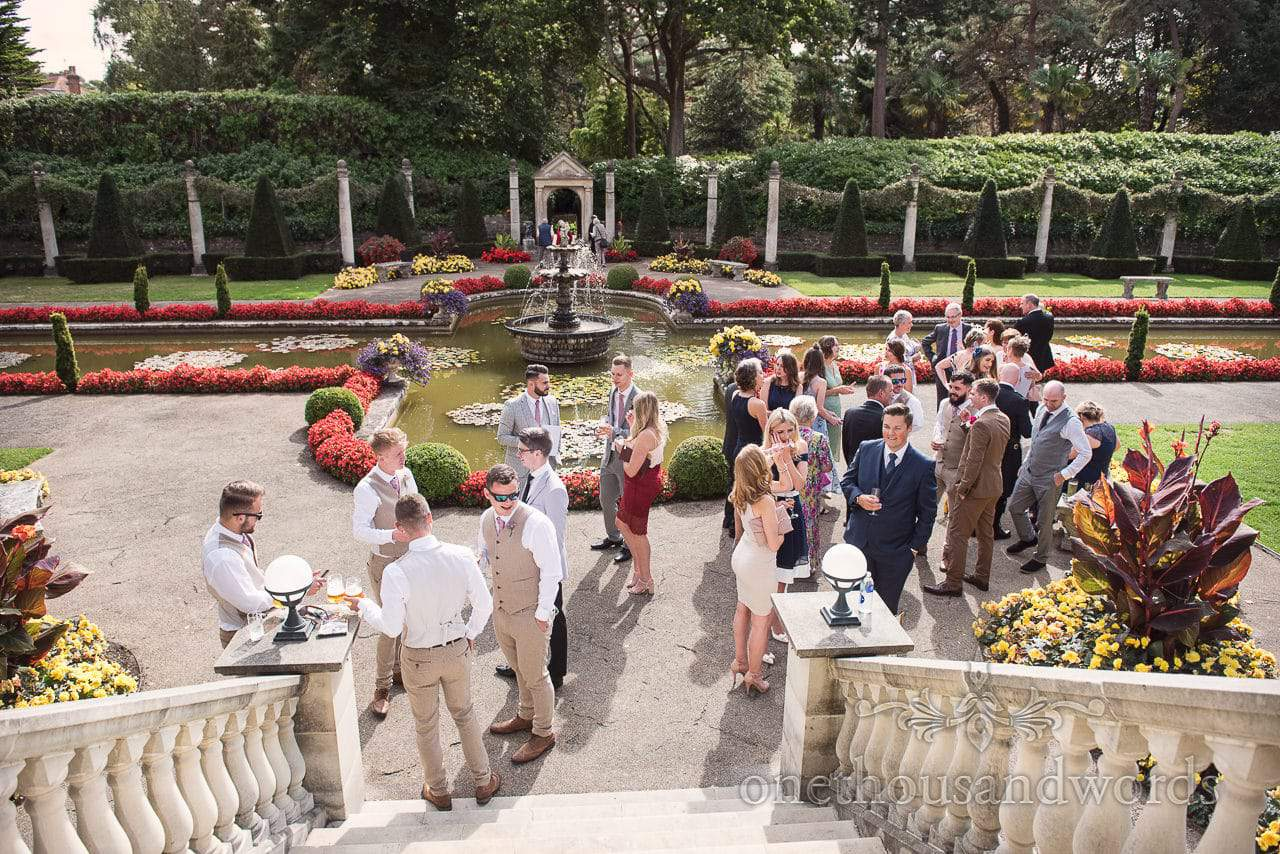 Italian Villa documentary Wedding photos of guests gathering in the Italian garden