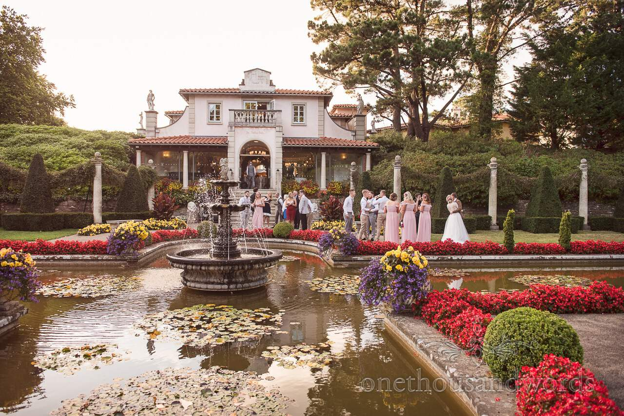 Italian Villa Documentary Wedding Photos of Italian Gardens with wedding guests