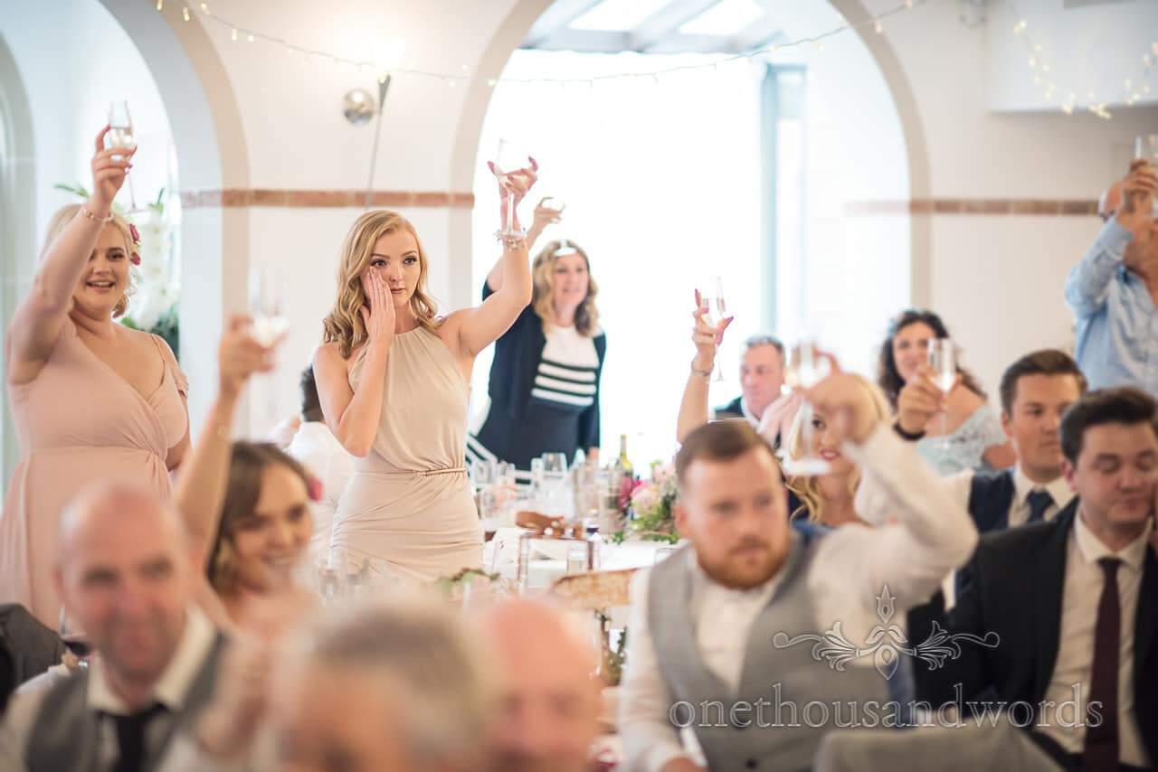 Italian Villa documentary wedding Photos of toast during speeches