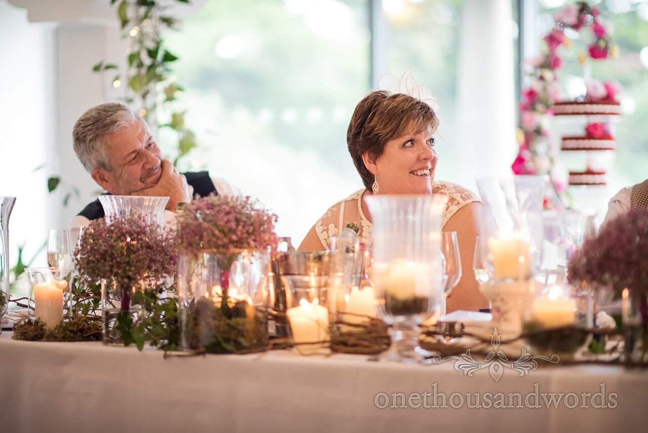 Italian Villa documentary wedding photos of top table reaction during speeches