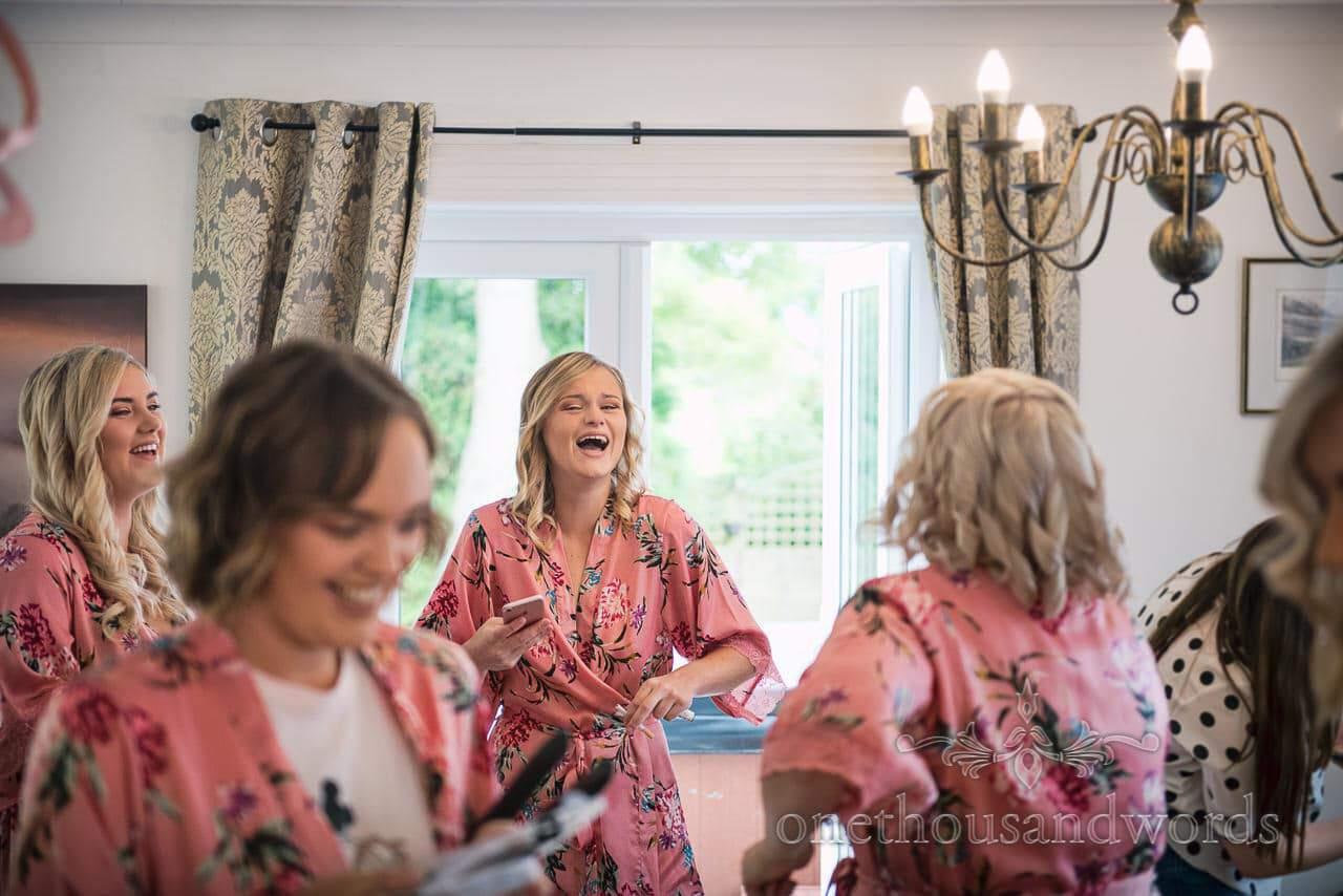 Laughing bridesmaids on morning of Italian Villa wedding