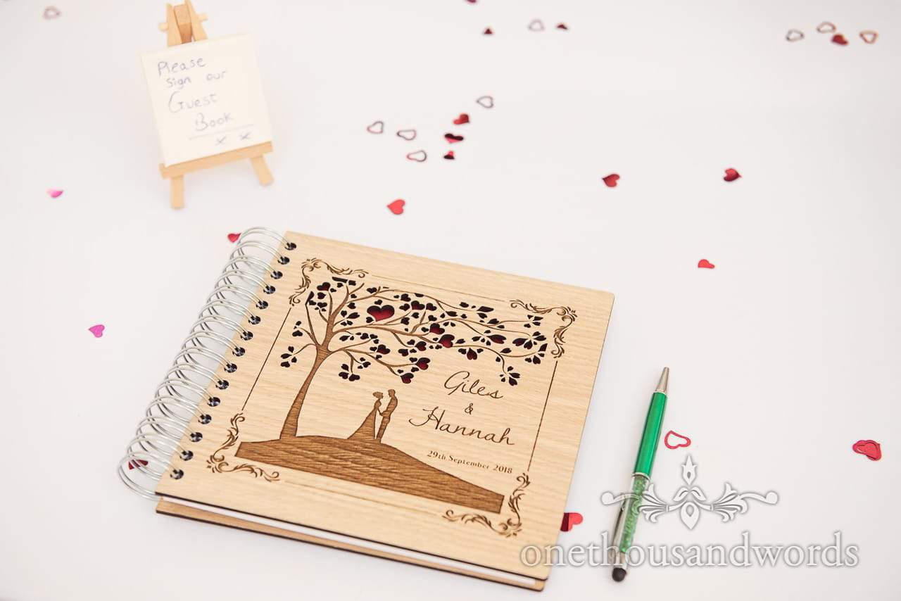 Lazer cut wooden covered wedding signing book with love heart leaves