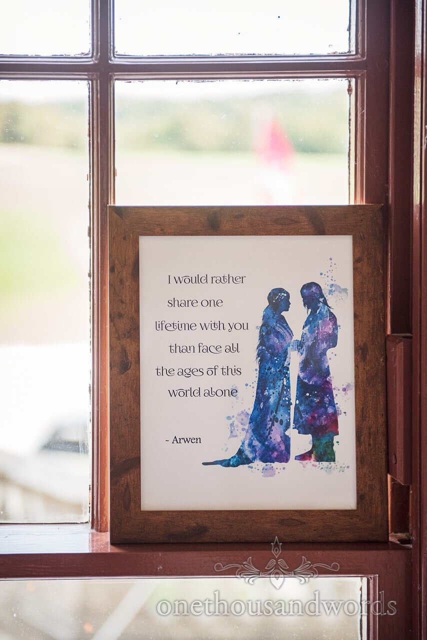 Lord of the Rings framed quote from woodland Lulworth Castle wedding
