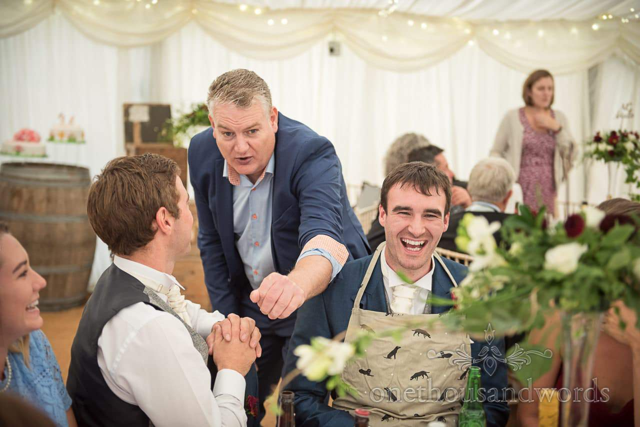 Magician with no tricks up his sleeve at farm marquee wedding
