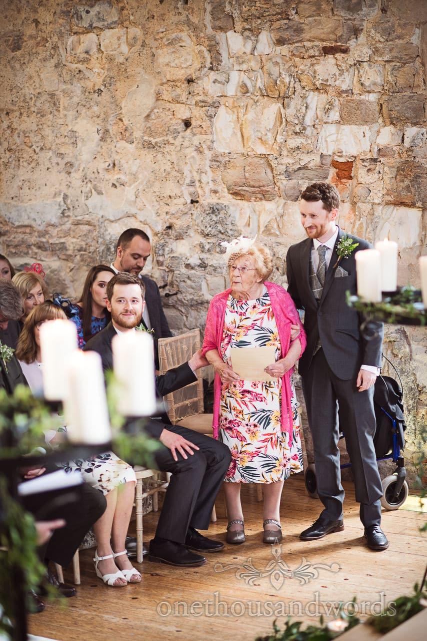 Nan gives reading at woodland Lulworth Castle wedding