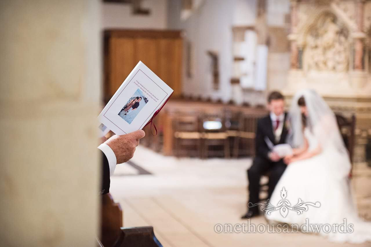 Order of service at Wimborne Minster wedding ceremony in Dorset