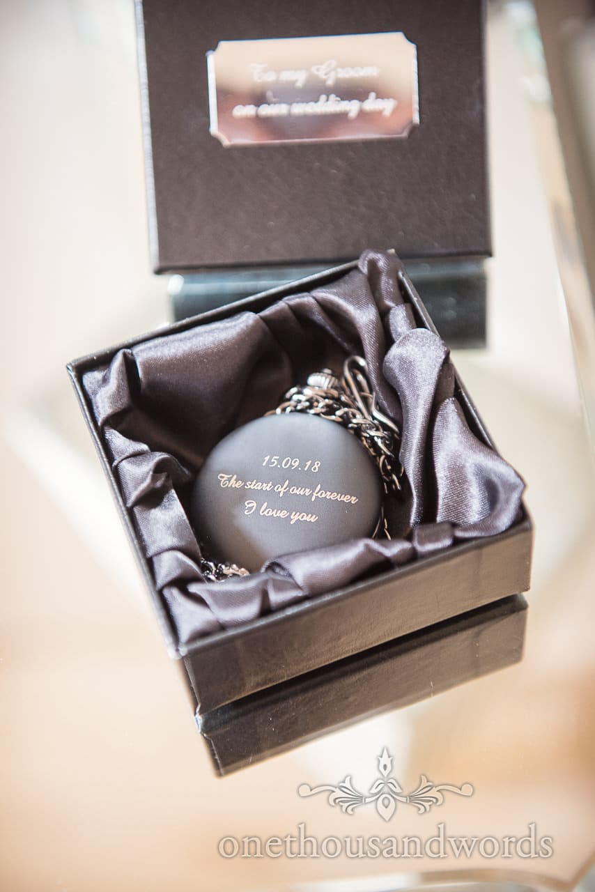 Personalised dated pocket watch gift from woodland Lulworth Castle wedding