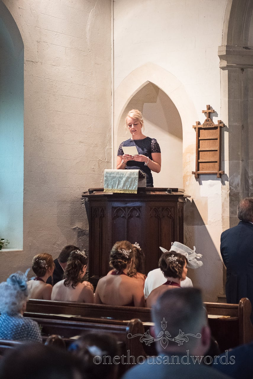Reading is delivered during church wedding ceremony