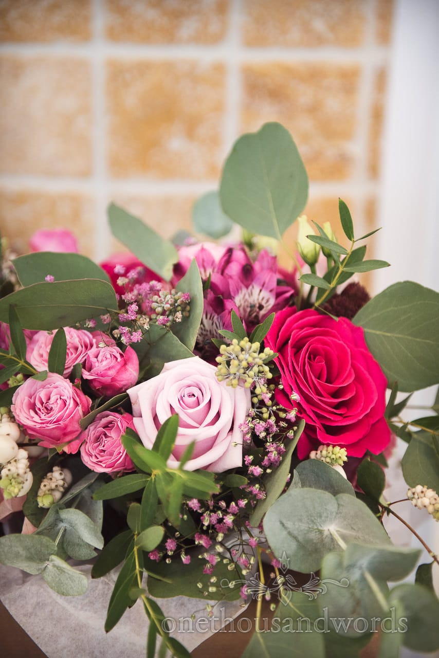 Shades of Pink flowers in bridal bouquet at Italian Villa wedding