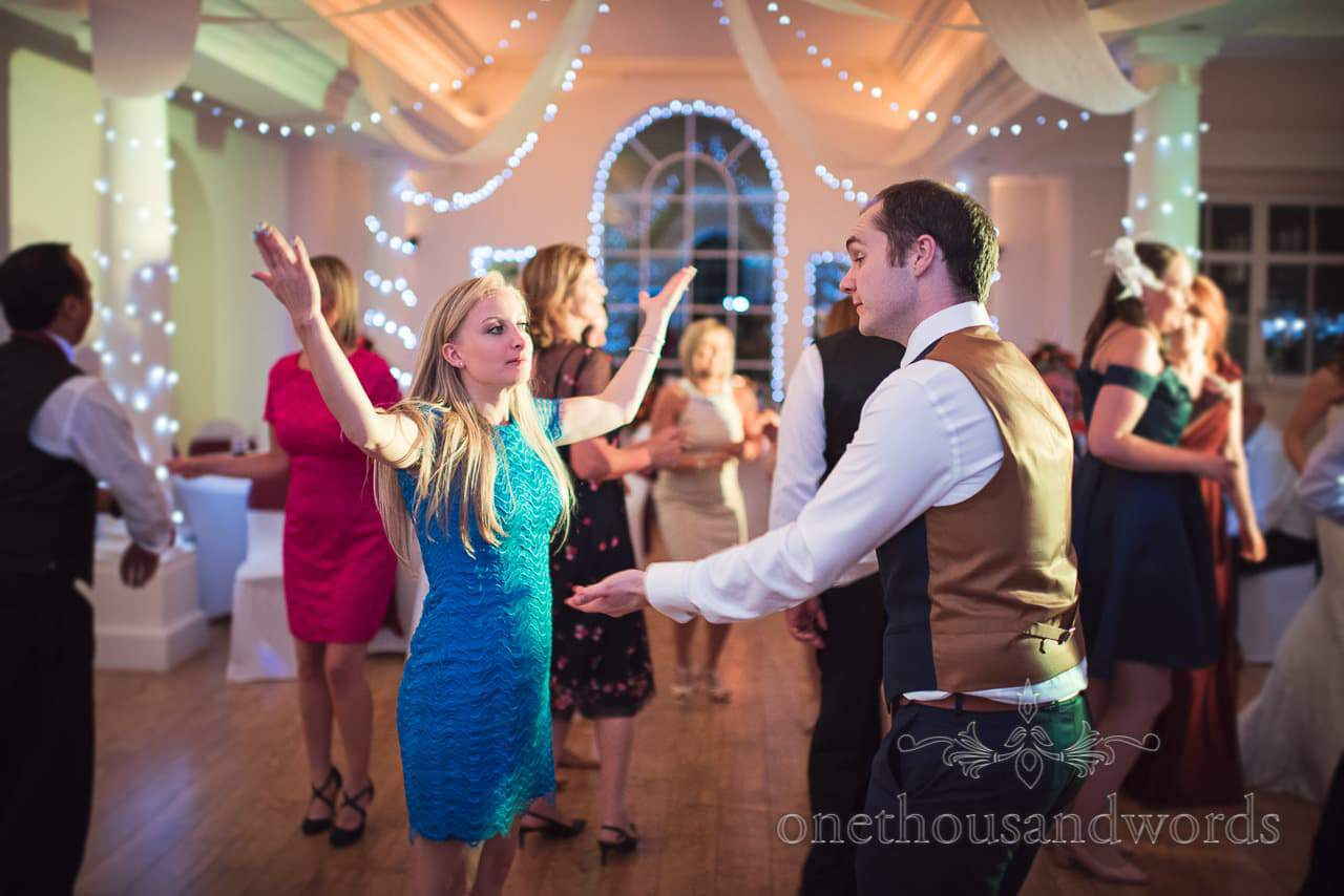 Wedding guests dancing at Hethfelton House Wedding venue