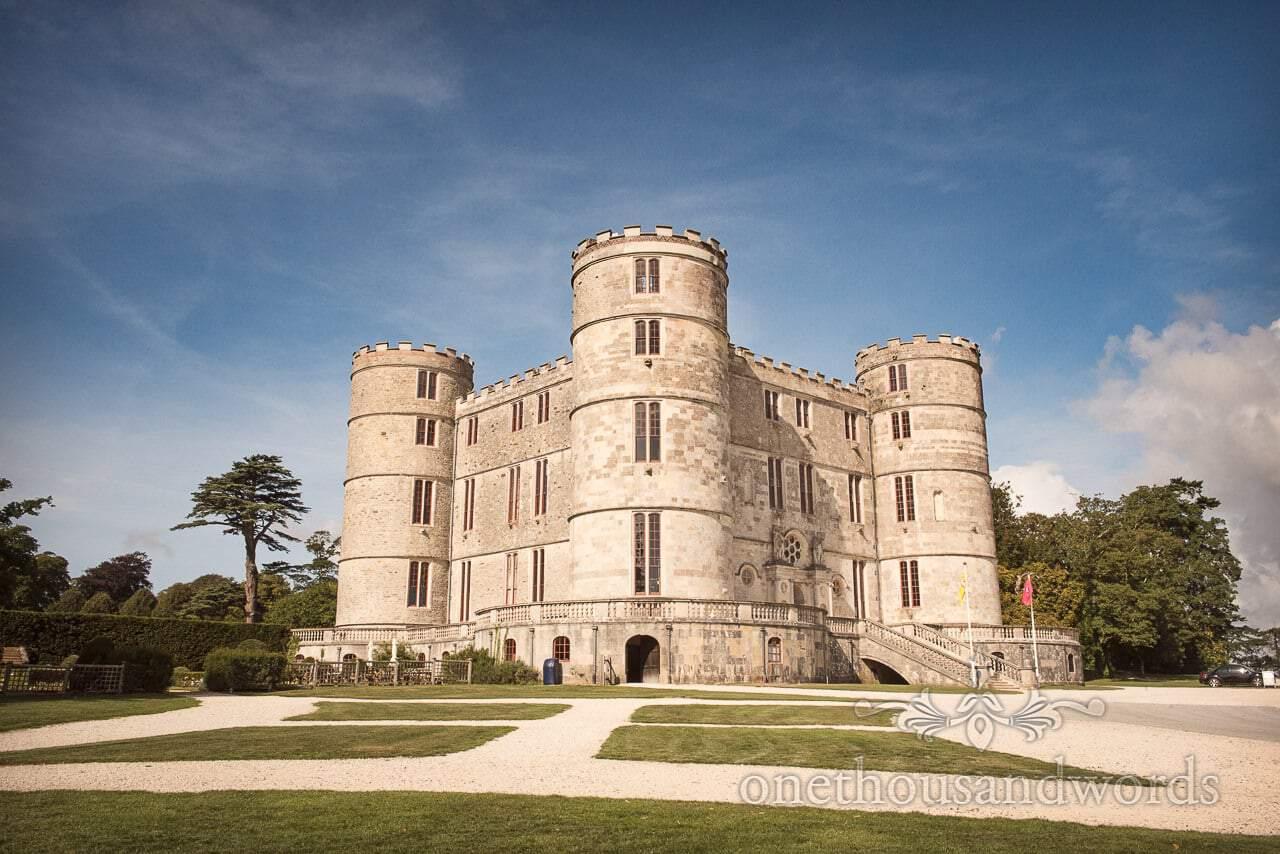 Woodland Lulworth Castle wedding photos of castle exterior