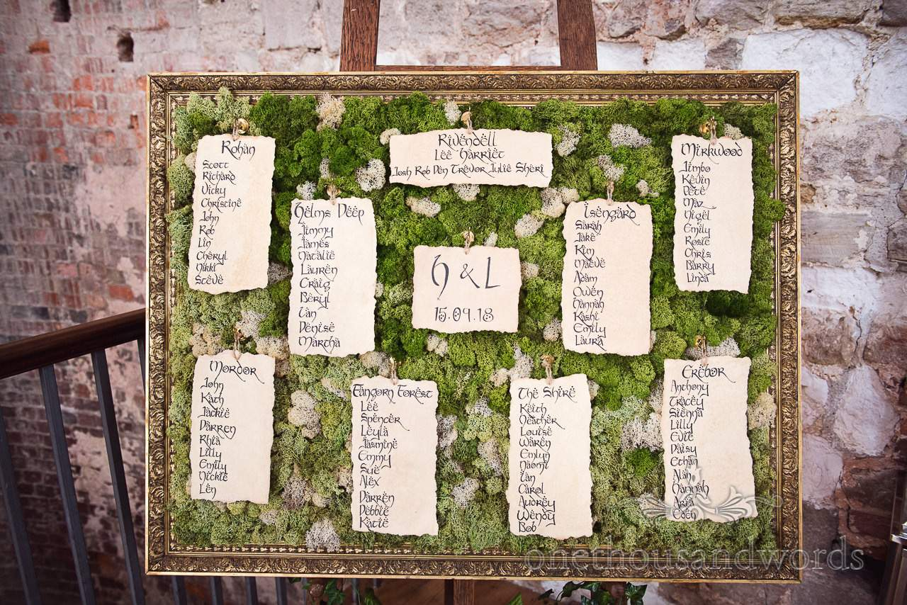 Woodland Lulworth Castle wedding Photos of Lord of the Rings themed table plan