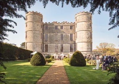 Lulworth Castle Wedding Venue Dorset Gardens Drinks Reception Photograph
