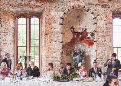 Top table wedding speeches at Lulworth Castle Wedding breakfast Dorset