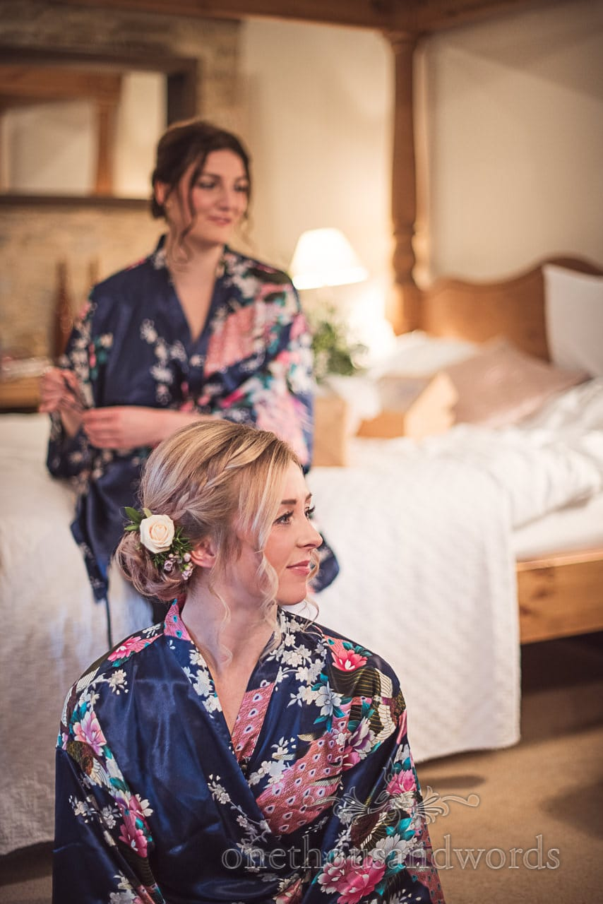 Beautiful bridesmaids floral kimono dressing gowns flowers in hair wedding morning