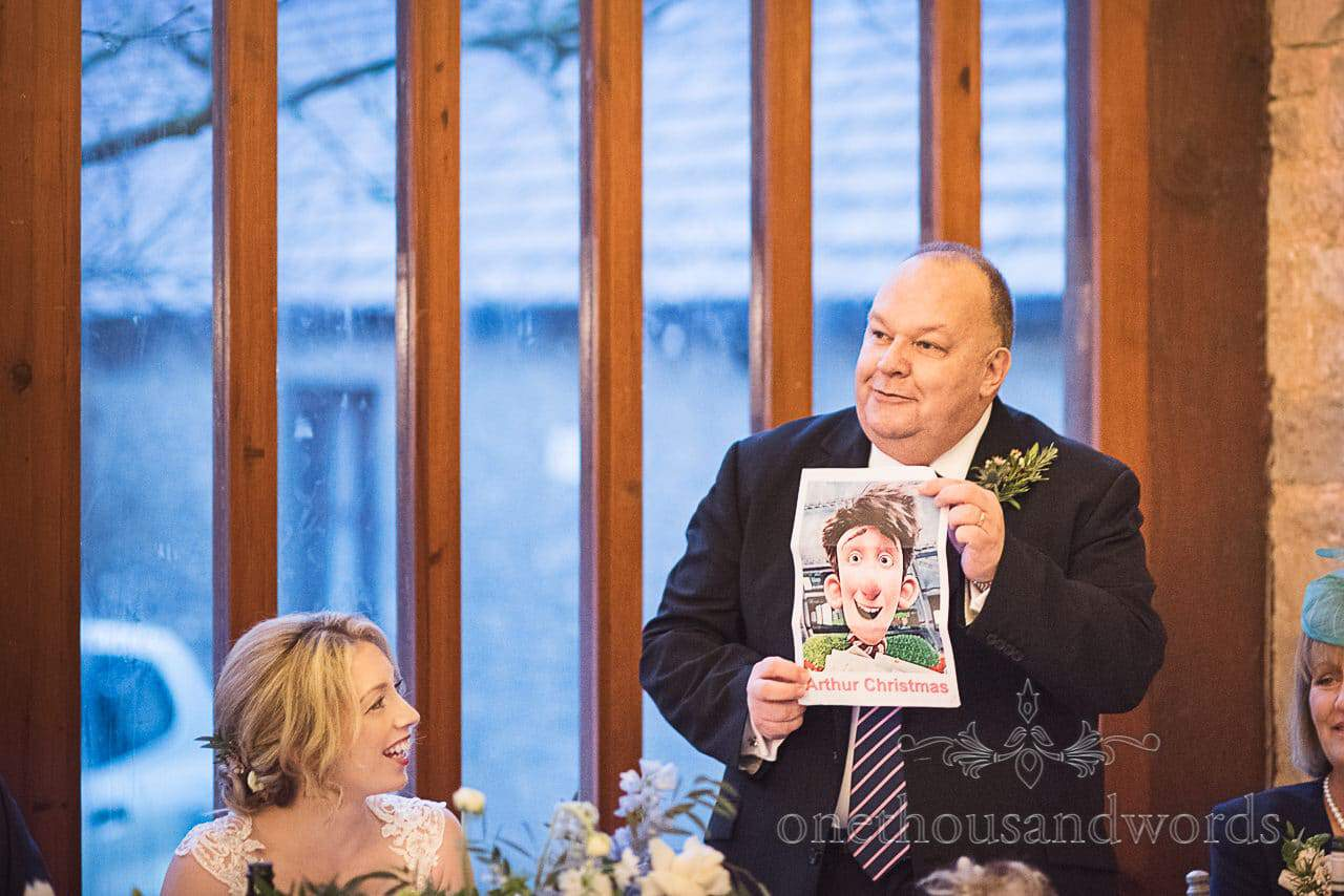 Father of the bride compares groom to Arthur Christmas during wedding speeches