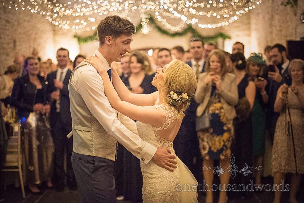 First Dance under fairy lights at Dorset Courtyard wedding photograph