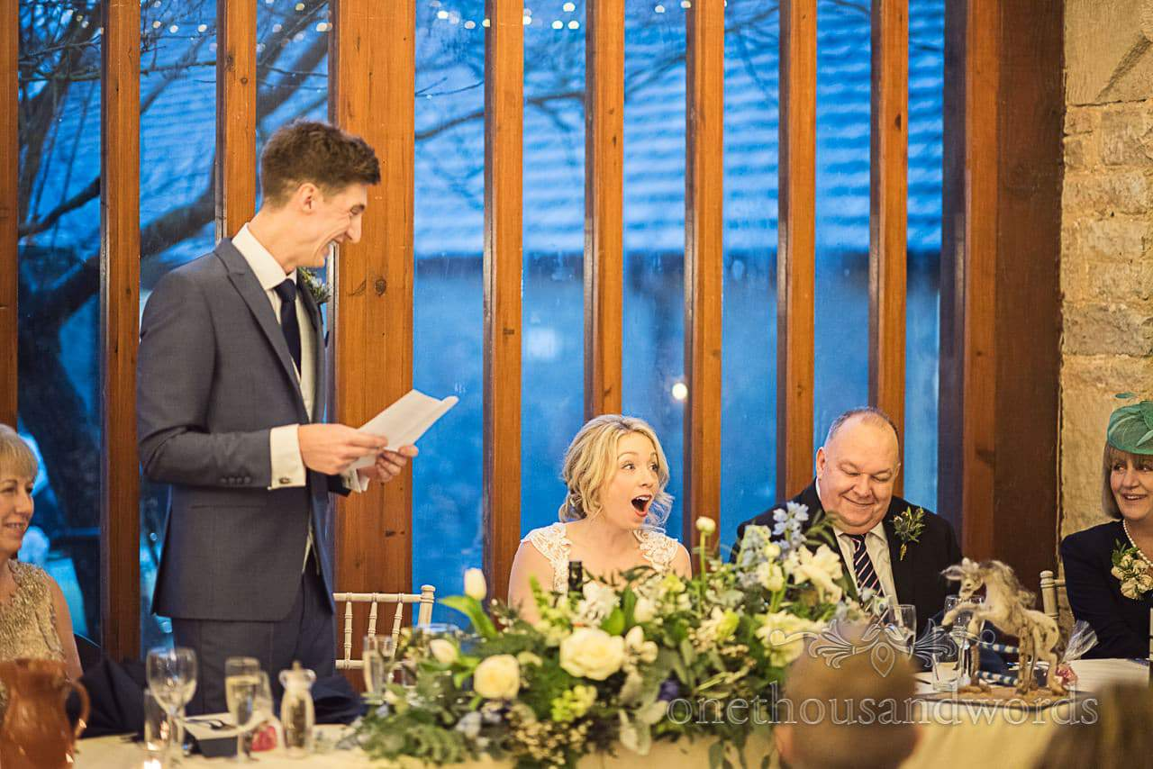 Groom shocks bride with wedding speech at Kingston Country Courtyard wedding