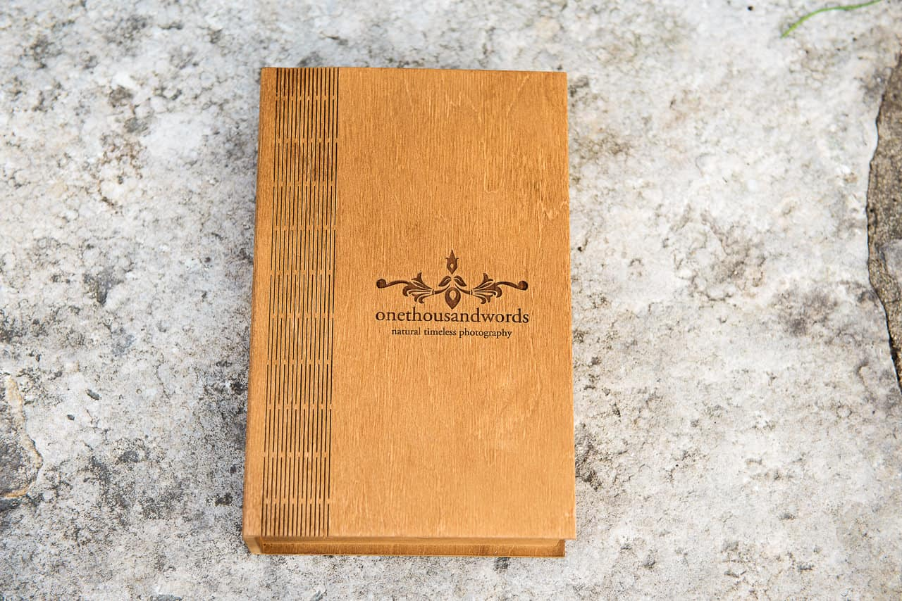 Lazer engraved wooden book like presentation box wedding photography service