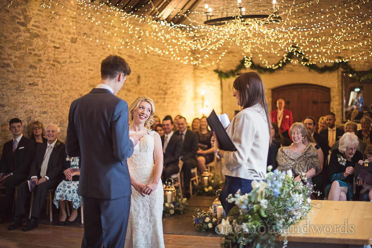 Wedding ceremony photograph at Kingston Country Courtyard stone barn venue