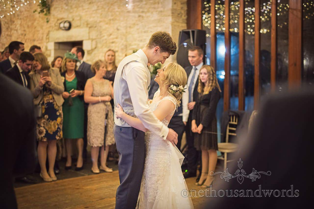 Kingston Country Courtyard wedding photograph of first dance bride and groom