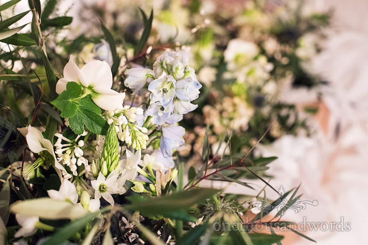white and pale blue flowers in wedding bouquets close up photograph