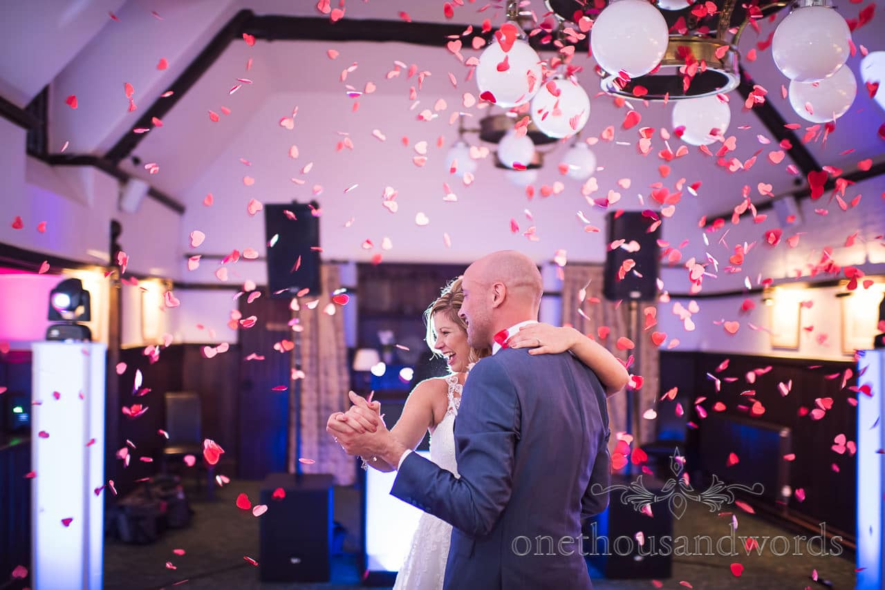 Athelhampton House Wedding first dance with red love heart confetti
