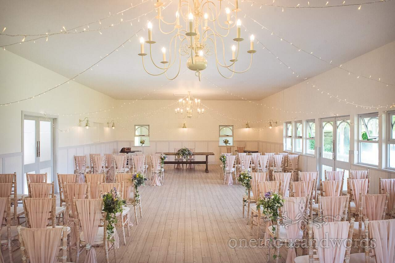 Kings Arms Wedding Pavilion Decorated for a Spring Wedding in Christchurch Dorset by one thousand words wedding photography