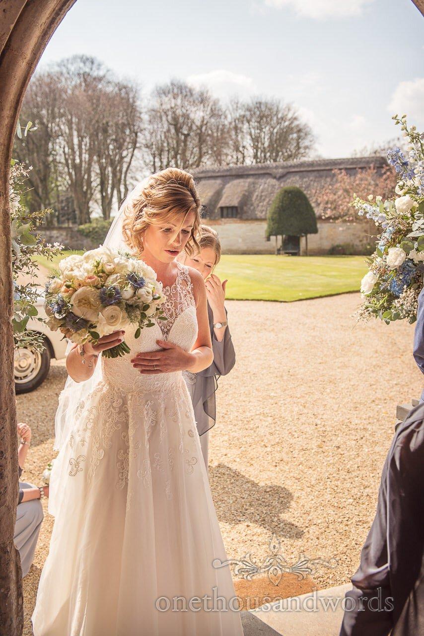 Bride takes a deep breath before Athelhampton House Wedding ceremony