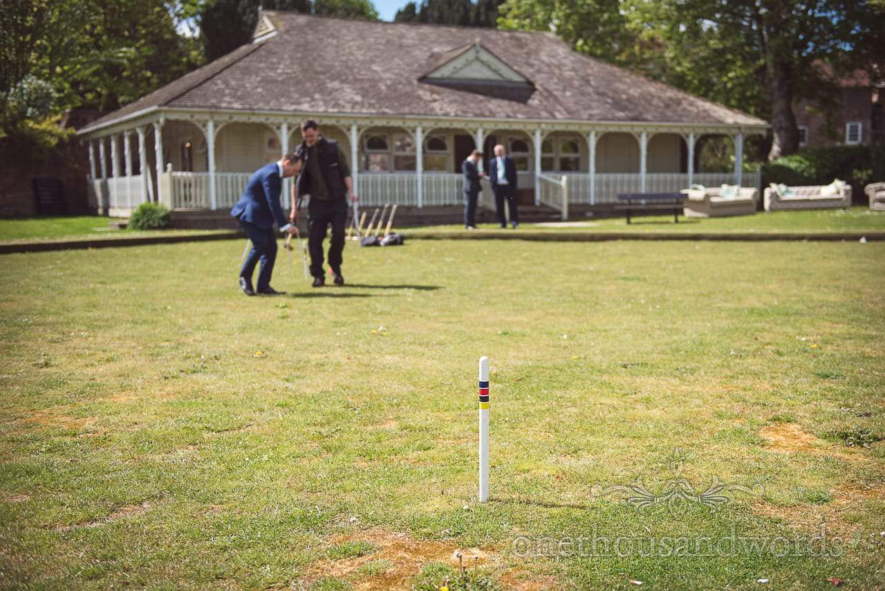 Croquet Post at Wedding Lawn Game Preparation at Kings Arms Pavilion Documentary wedding photograph