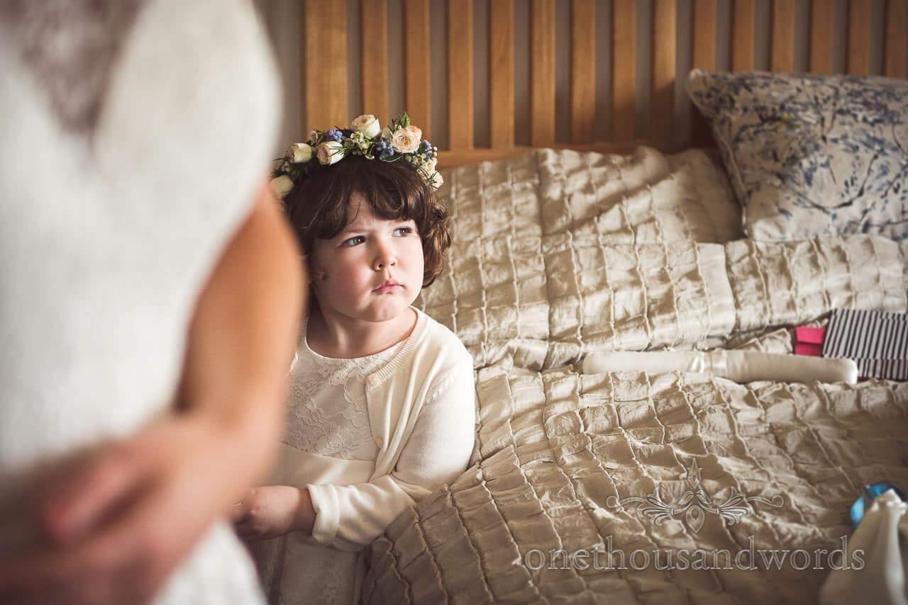 Cute Flower Girl with Floral Headband Wedding Portrait Photo