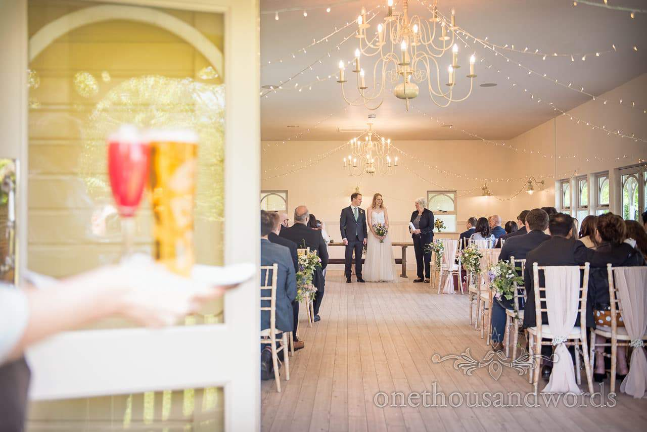 Wedding Reception drinks Await Bride Groom outside Wedding Ceremony at Kings Arms Pavilion Exit