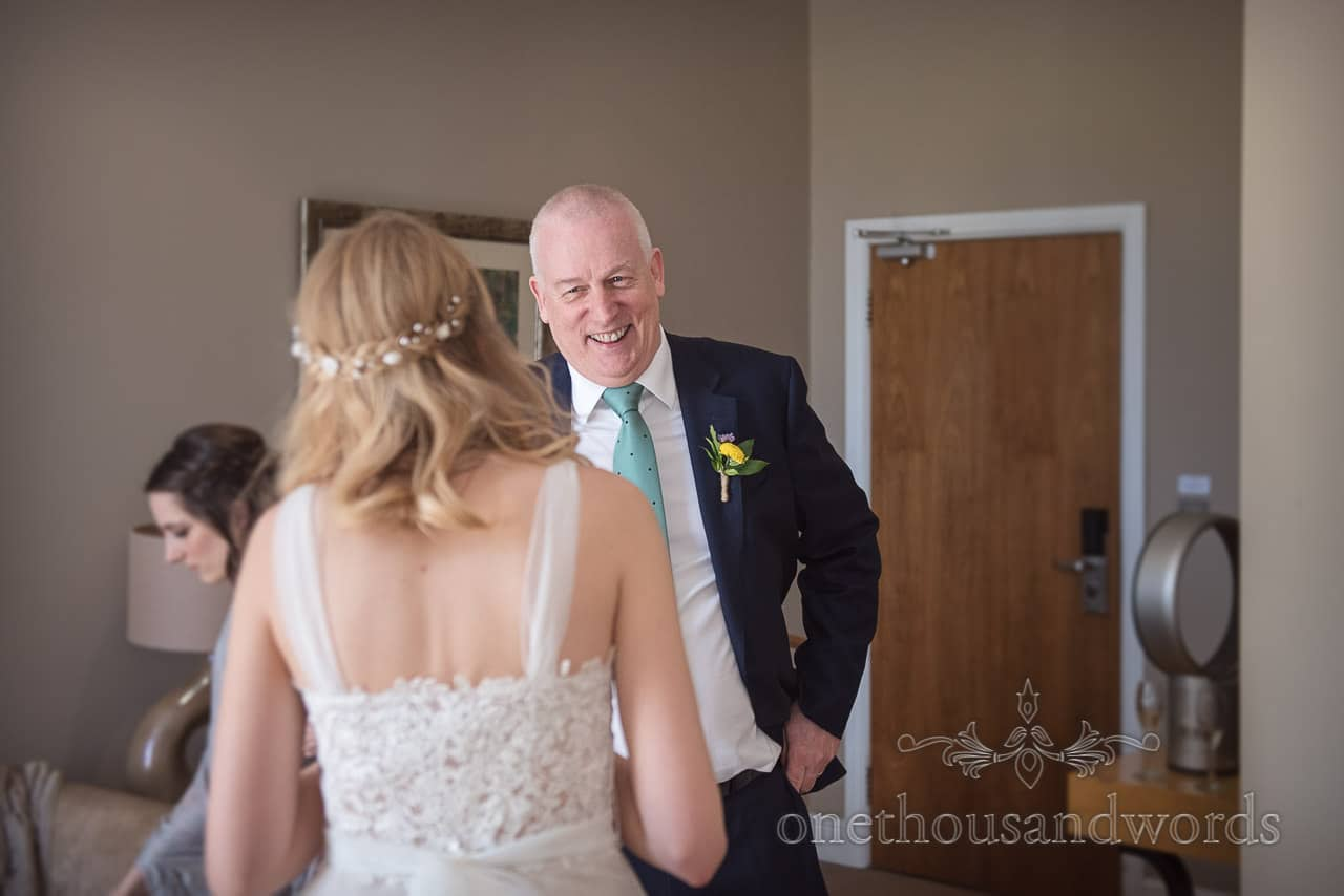 Father Of The Bride Has First Look At Daughter on Wedding Morning Documentary Photograph by one thousand words