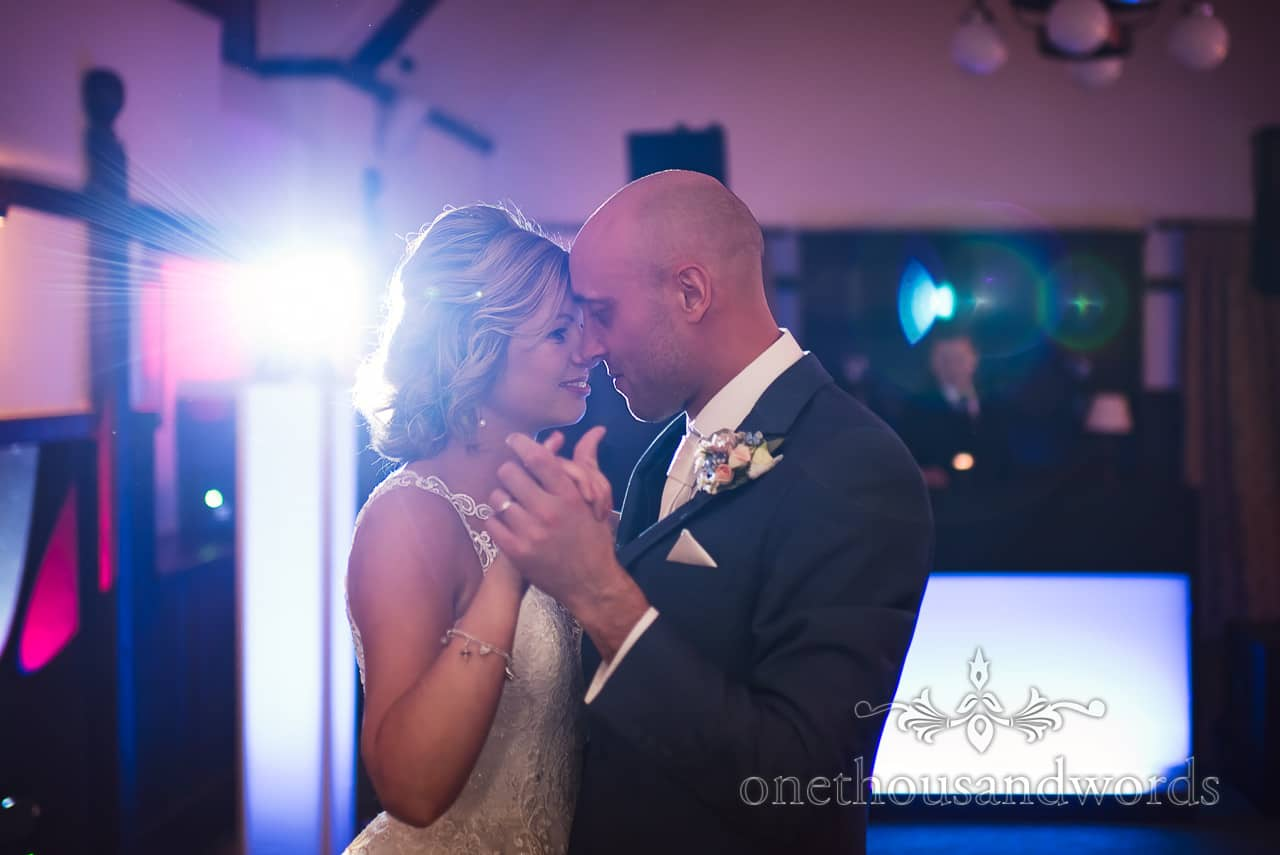 First dance with disco lights at Athelhampton House Wedding