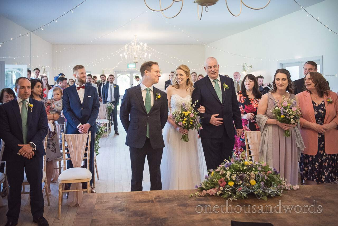 First Look Documentary wedding Photograph at Kings Arms Hotel Pavilion Dorset Wedding Ceremony