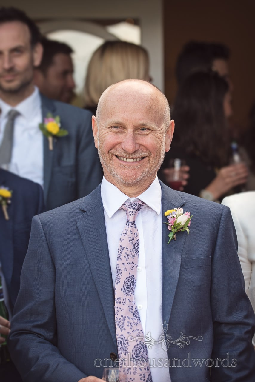 Grooms Father Documentary Portrait Photograph in Blue Wedding Suit and Spring Flower Buttonhole at Kings Arms Hotel Wedding