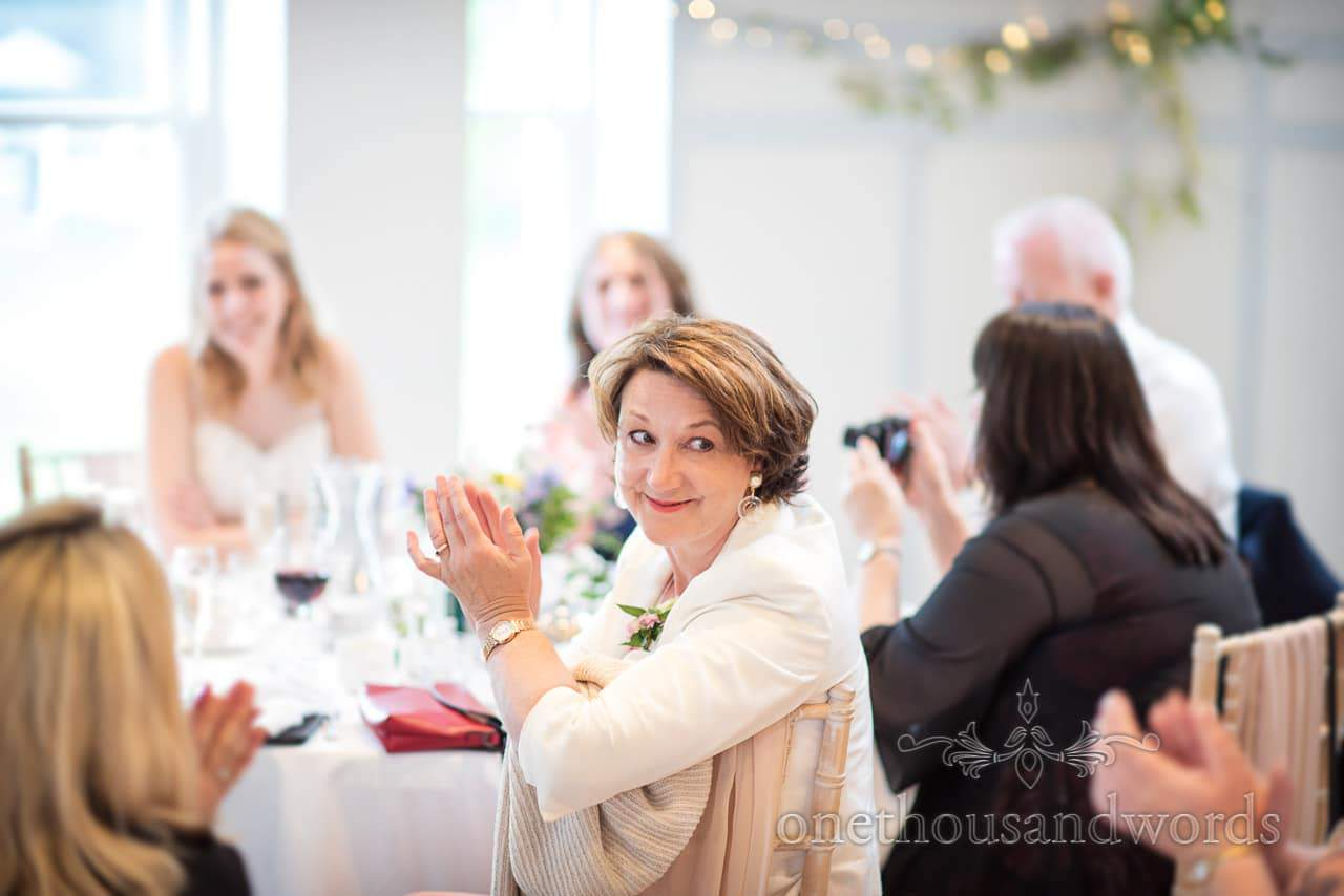 Grooms Mother Applauds Wedding Speeches at Kings Arms Wedding Portrait Photograph by one thousand words