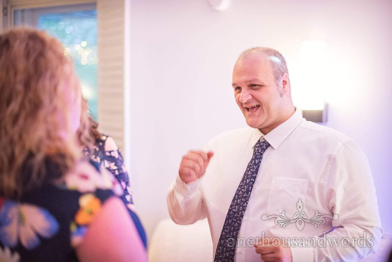 Happy Wedding Guest Dancing at Kings Arms Christchurch Wedding Evening Disco