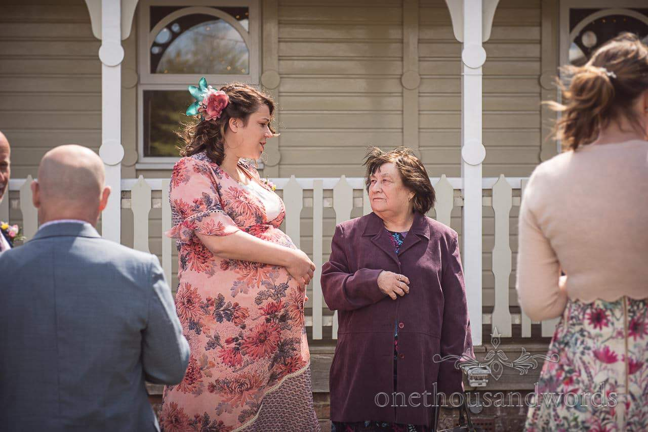 Heavily Pregnant Grooms Sister and Grandmother at Kings Arms Pavilion Wedding Drinks Reception Photograph