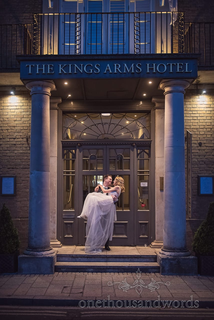 Kings Arms Hotel Christchurch Wedding Venue Photo With Bride Groom in Evening by one thousand words wedding photography
