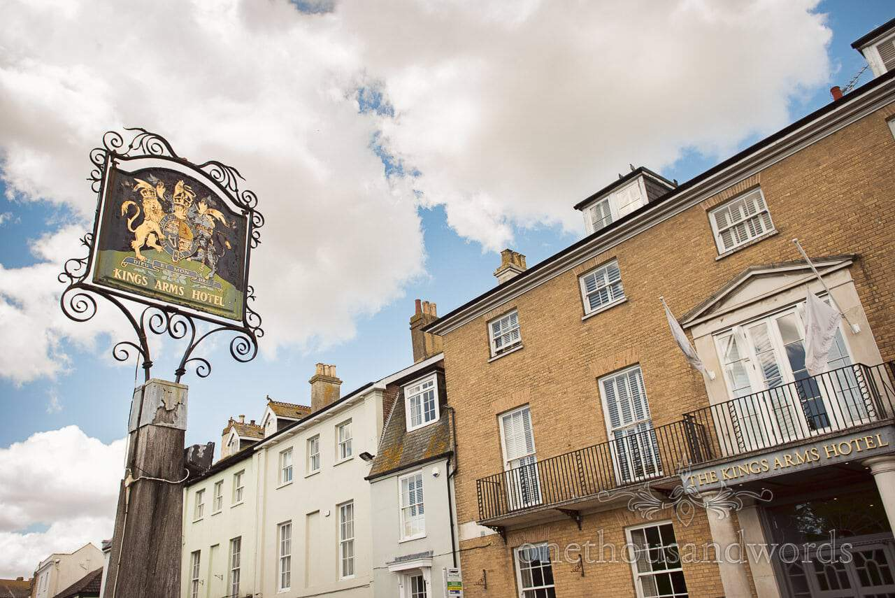 Kings Arms Hotel Wedding Venue Old Pub Sign Hotel Front in Christchurch Dorset