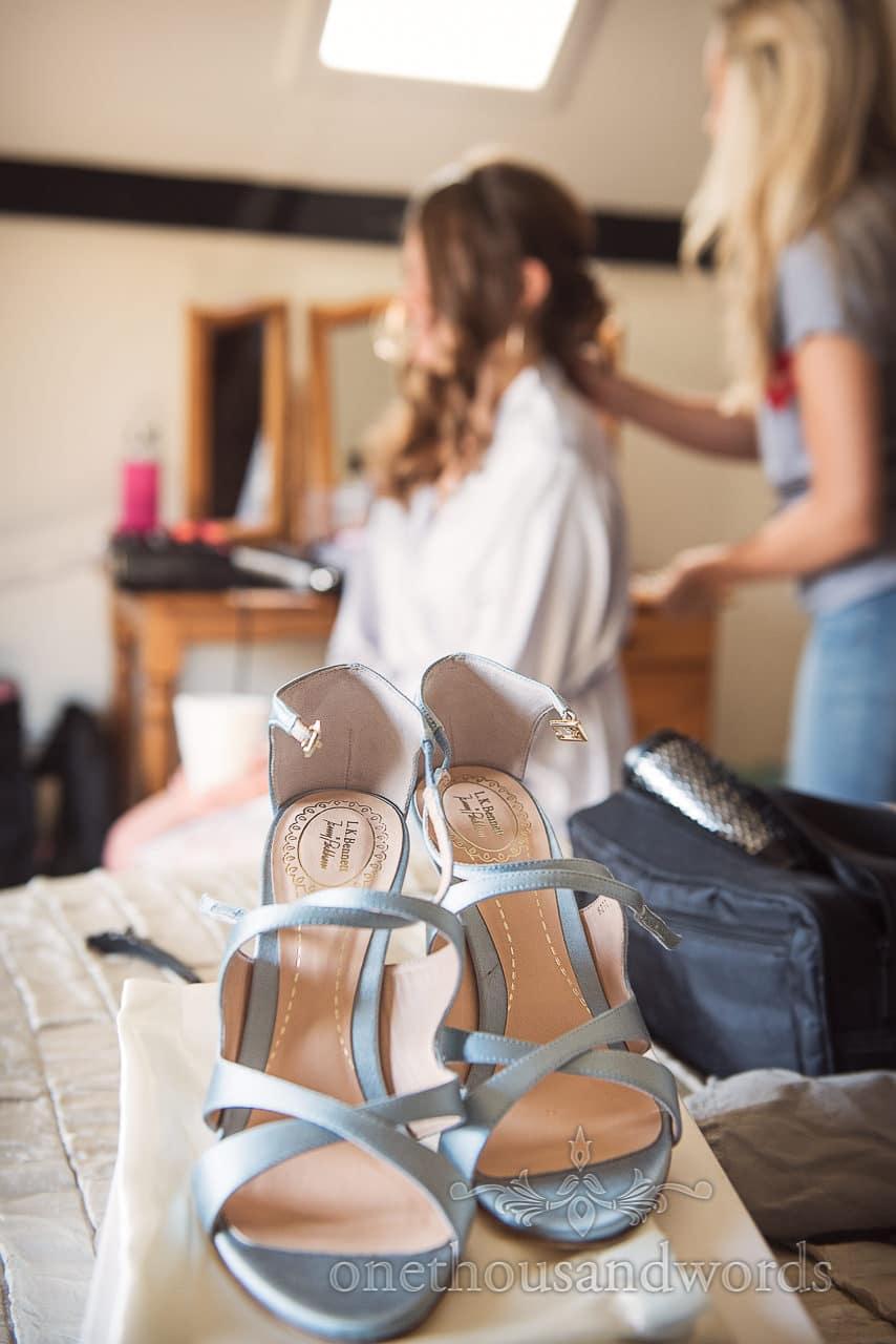 L K Bennet x Jenny Packham light blue wedding shoes on wedding morning prep