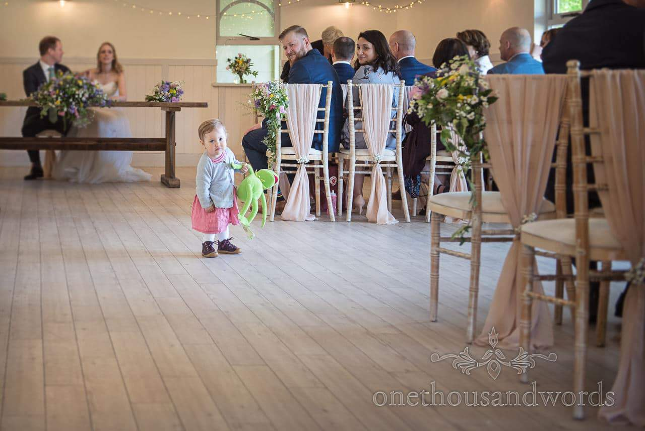 Toddler Wedding Guest With Kermit The Frog In The Aisle at Kings Arms Pavilion Wedding Ceremony Photograph
