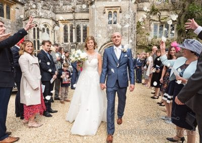 Wedding confetti at Athelhampton House Wedding venue in Dorset
