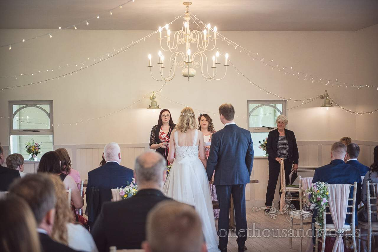 Wedding Readings by Guests at Ceremony at Kings Arms Pavilion Dorset Photograph