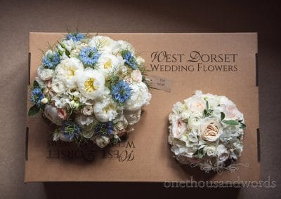 West Dorset wedding flowers pastel blue pink and white bridal flower bouquets