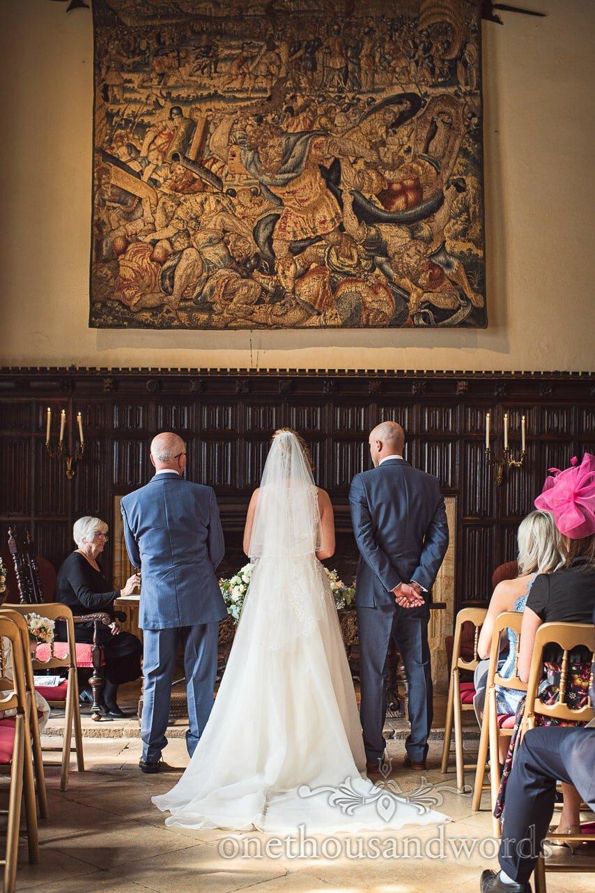 Athelhampton House Civil Wedding Ceremony photograph under Tapestry
