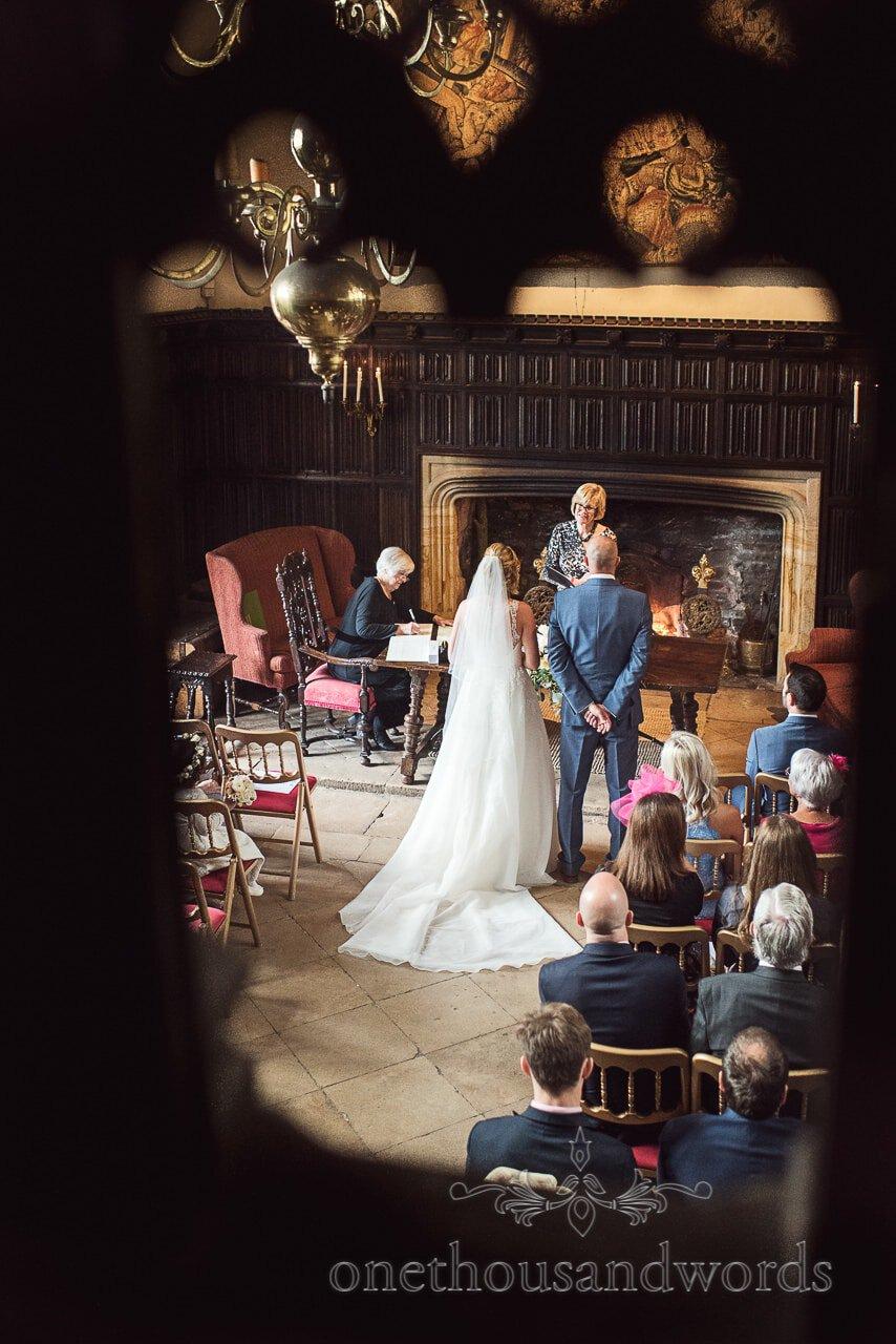 Balcony View photograph of Athelhampton House Civil Wedding Ceremony by Dorset wedding photographers