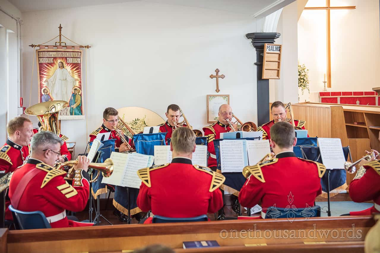 Coldstream Guards Military Band in red uniforms Playing Church Wedding Ceremony Music on brass instruments