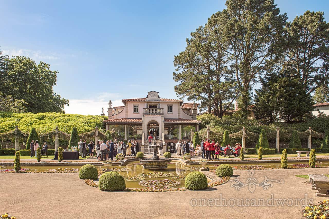 Italian Villa Poole Wedding Venue Photograph with Italian Gardens at Summer wedding drinks reception